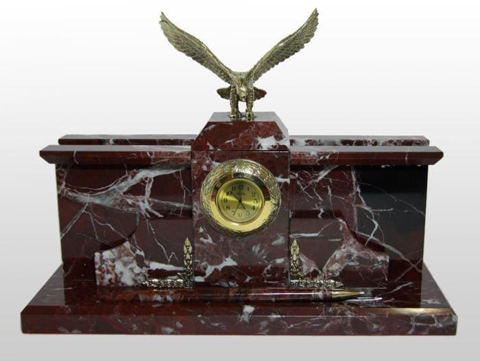 Настольный набор из мрамора с часами, Изделие №с01