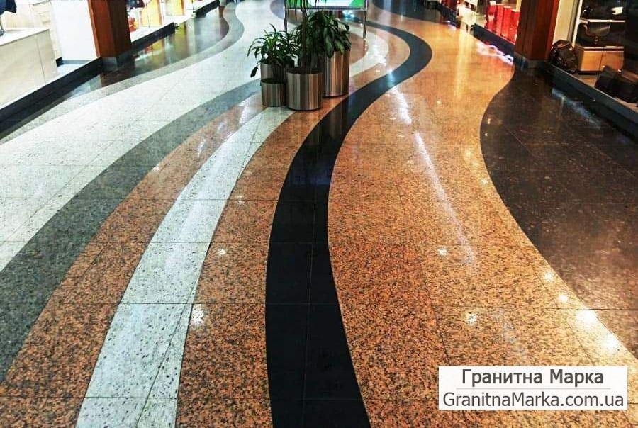 Гранитный пол в торговом центре