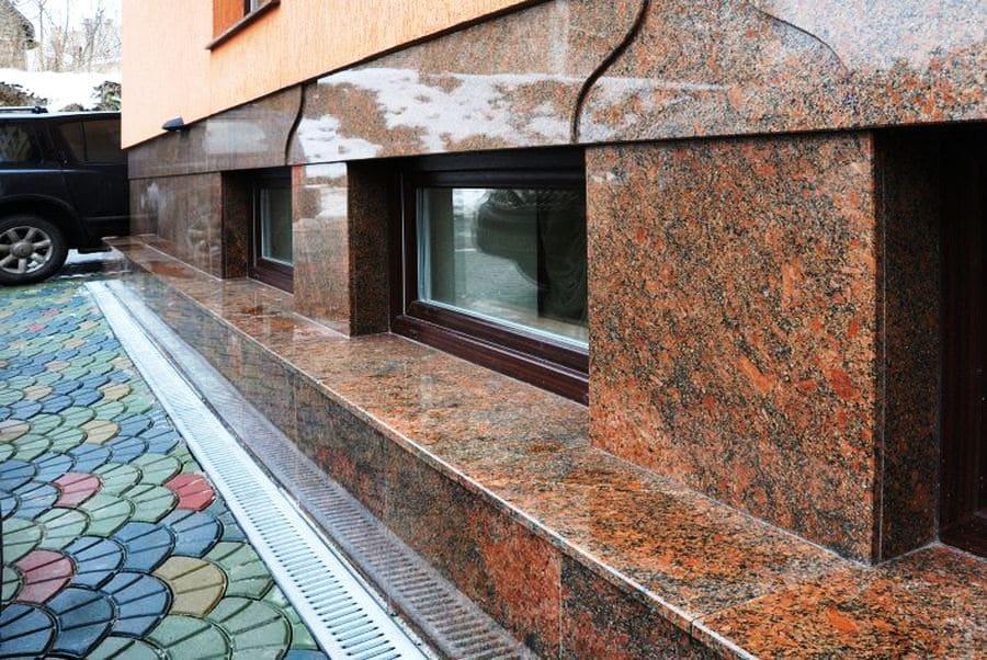 Облицовка цоколльного этажа гранитом Анастасиевка