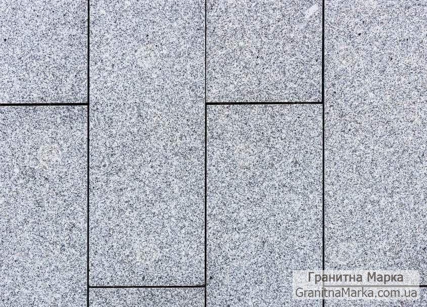 Тротуарная плитка (шашка), Серый Гранит Покостовка, 200*100 шлифованная