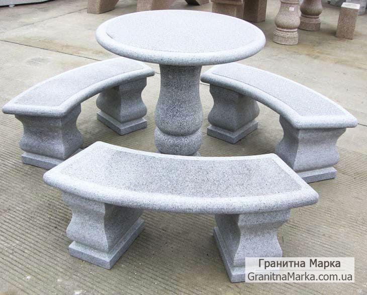 Гранитный стол со скамейками