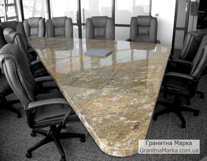 Офисный треугольный стол из мрамора