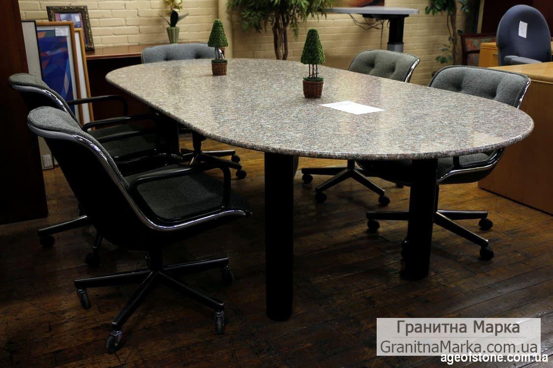 Офисный стол овальной формы из гранита