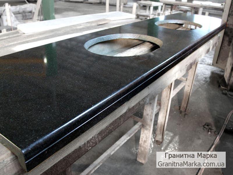 Изготовление столешницы из черного гранита Габбро