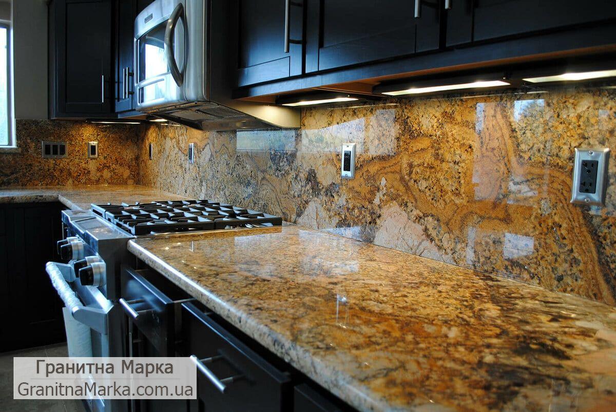 Мраморная столешница и рабочая стенка на кухню