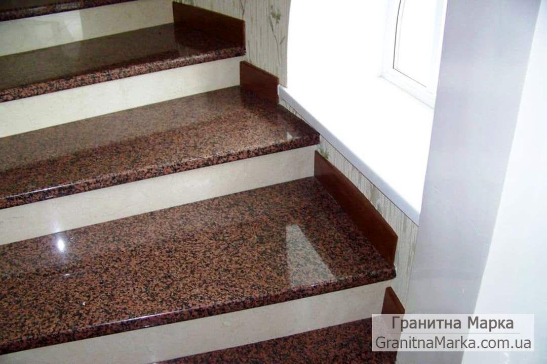 Ступени для лестниц из красного гранита, фото №06