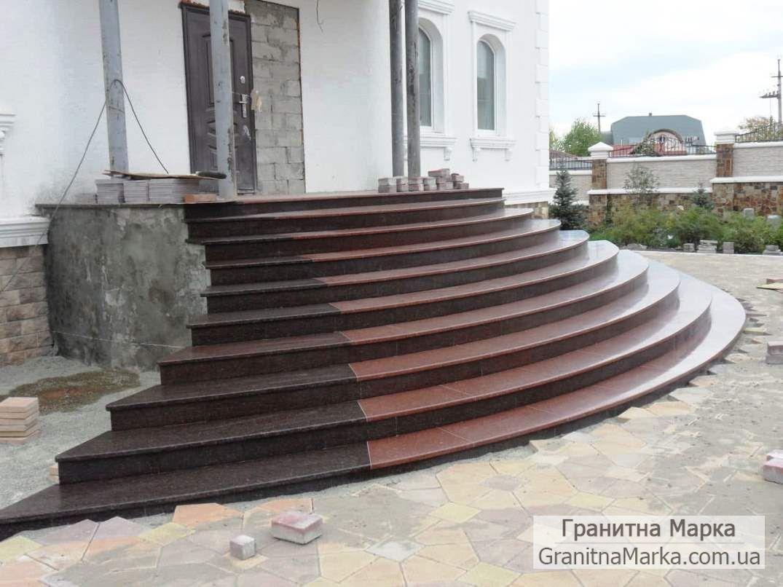 Гранитные ступени для крыльца, красный и черный гранит, фото №15