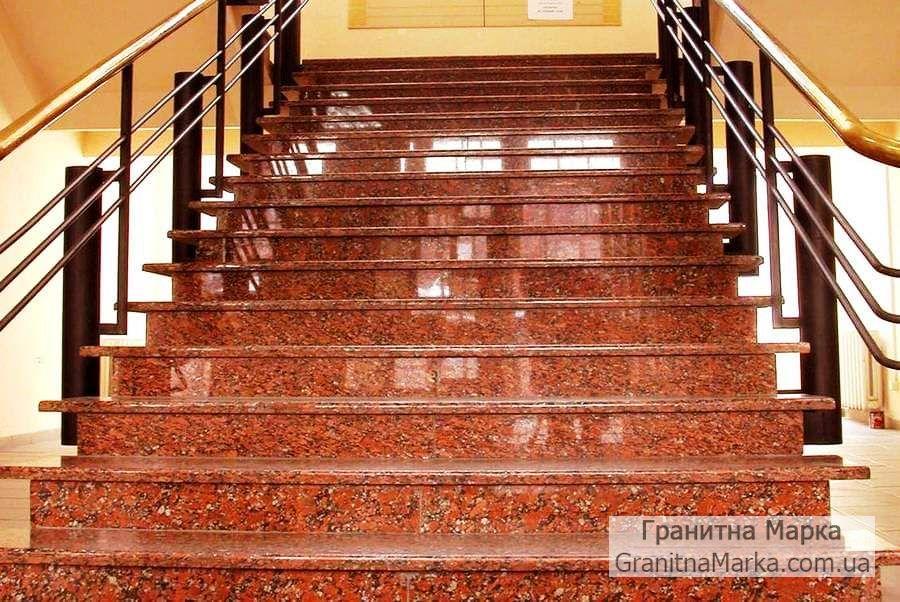 Лестница из красного гранита, фото №30