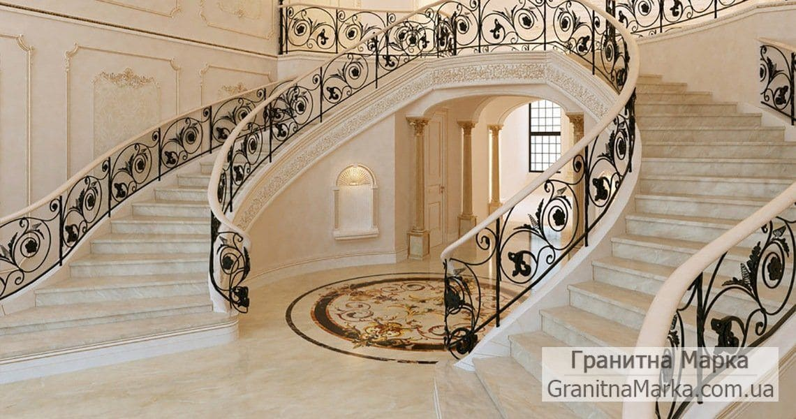 Эксклюзивная лестница из мрамора, фото №19