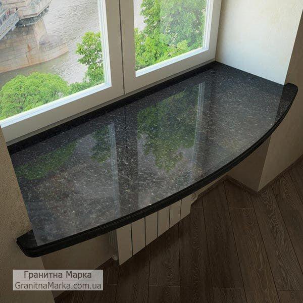 Гранитный подоконник черного цвета (стол-подоконник), фото №52