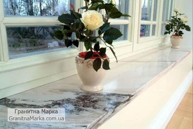 Подоконники из бело-серого мрамора, фото №80