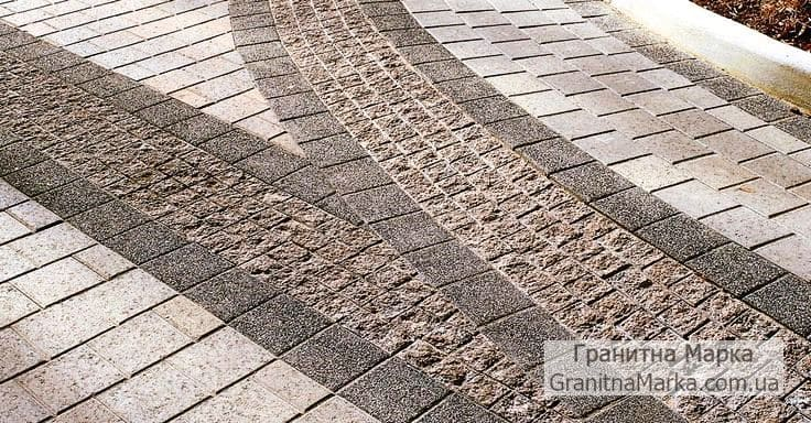 Мощение тротуаров колотой брусчаткой и пиленной с фасками