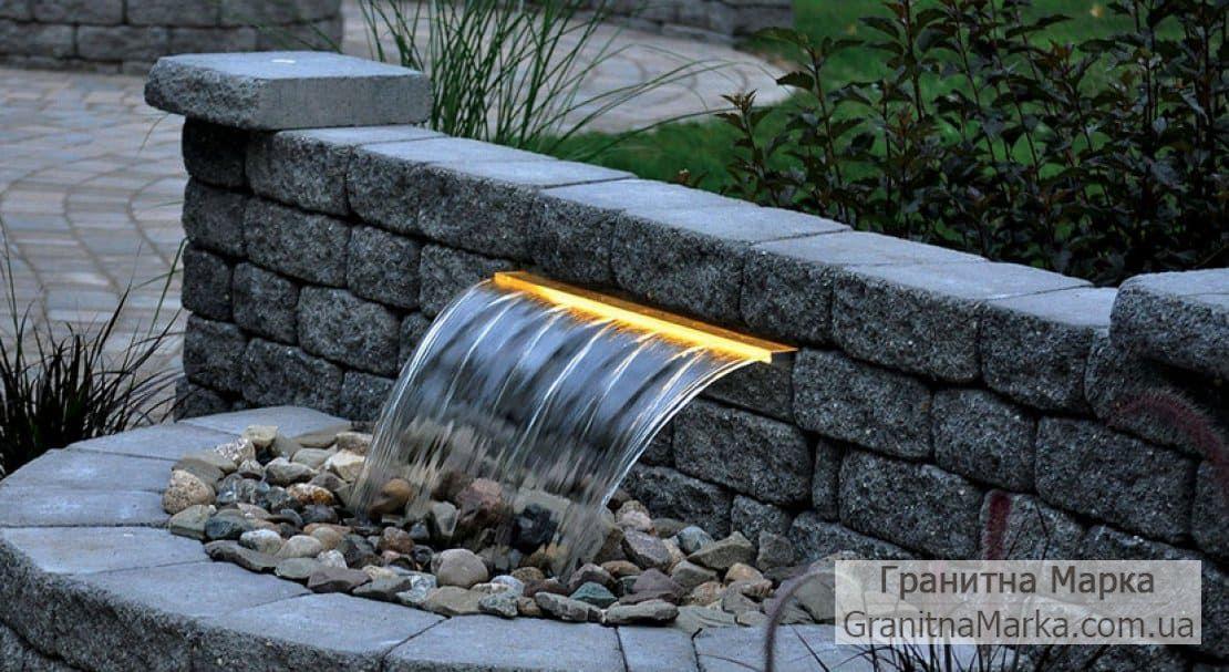 Гранитный фонтан-водопад в сад, фото №105