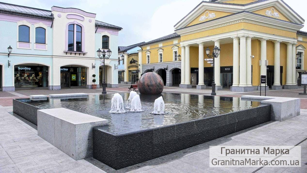 Облицовка фонтана гранитом, большой фонта с плавающим шаром, фото №107