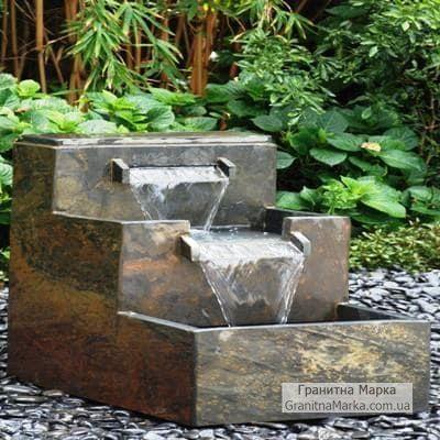 Садовый мини-водопад из гранита, фото №16