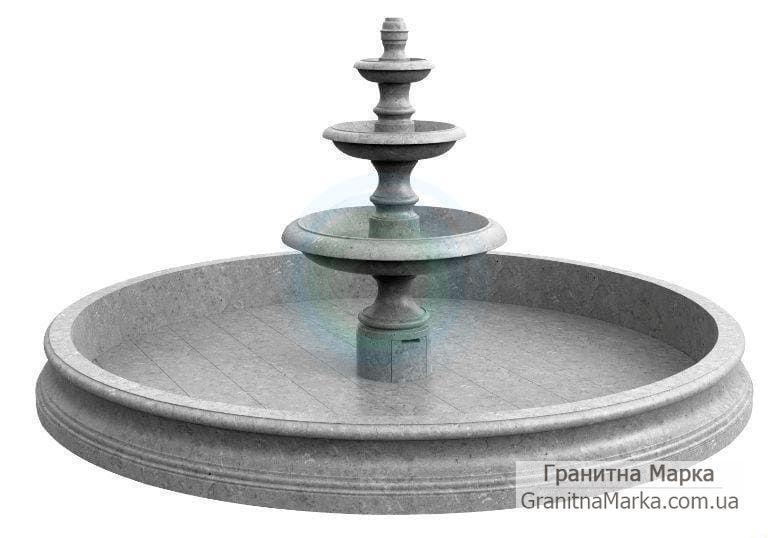 Многоуровневый классический фонтан из серого мрамора