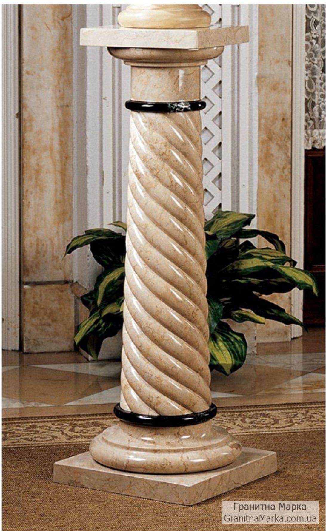Витая колонна-подставка из мрамора, фото №M-05