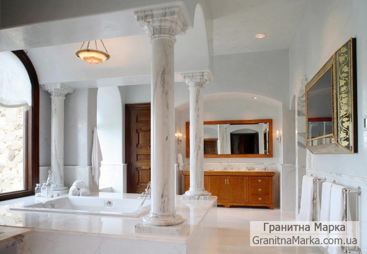 Мраморная колонна в ванной комнате, фото №M-06