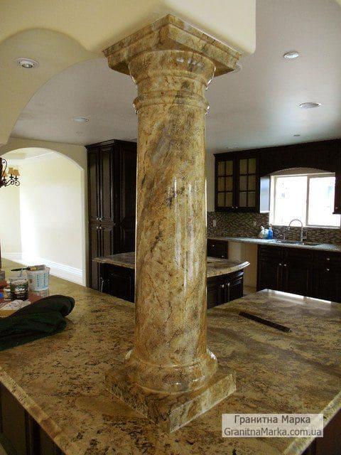 Подпорная мраморная колона на кухню, фото №M-13