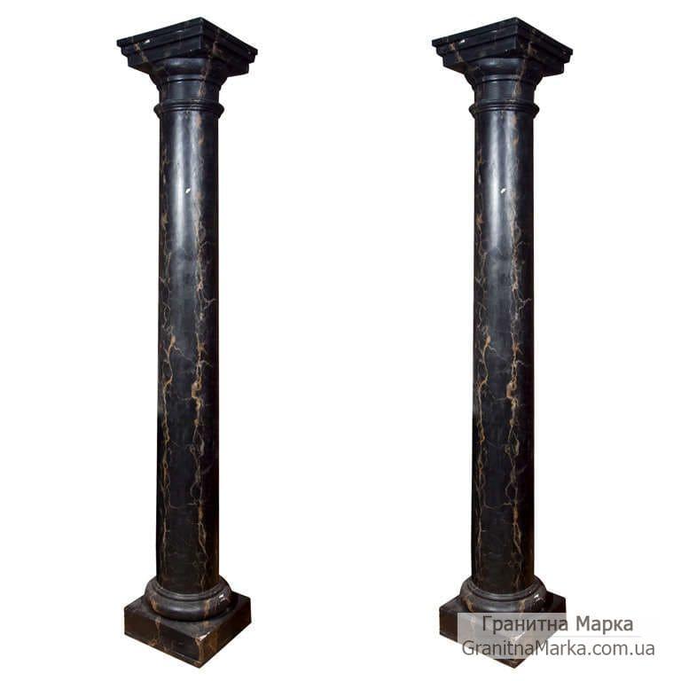 Мраморная колонна черного цвета, фото №M-14
