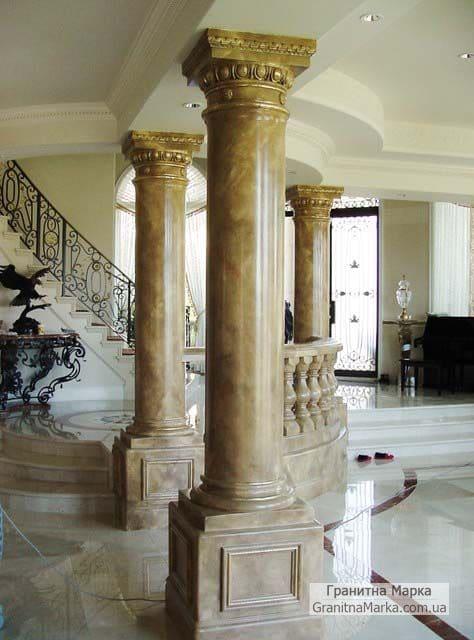 Колоны из коричневого мрамора в дом, фото №M-17